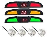 VSG PRO Multi-Farbdisplay Einparkhilfe mit eingebauten Pieper inklusiv 4 Sensoren in silber für h