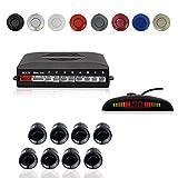 CoCar Auto Rückfahrwarner Einparkhilfe 8 Sensoren Einparkassistent Einparksystem PDC + LED Anzeigen + Akustische Warnung - Schwarz