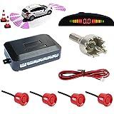 TKOOFN KFZ Summer Einparkhilfe Rückfahrhilfe 4 hinten Sensoren Hinter mit LED Farb Display Auto Parken Sensor System Pieper Radar Kit für Hinter Ro