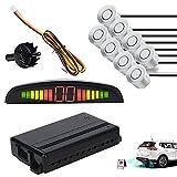 EINFEBEN Einparkhilfe Rückfahrwarner 8 Sensoren 4 vorne 4 hinten Led Display Silber Auto Rückfahrwarner