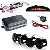 TKOOFN KFZ Summer Einparkhilfe Rückfahrhilfe 4 hinten Sensoren Hinter mit LED Farb Display Auto Parken Sensor System Pieper Radar Kit Hinter Schwarz