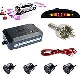 TKOOFN Universal KFZ Summer Einparkhilfe Rückfahrhilfe Auto Parken Sensor System mit 4 Sensoren Radar Kit LED Display Blau